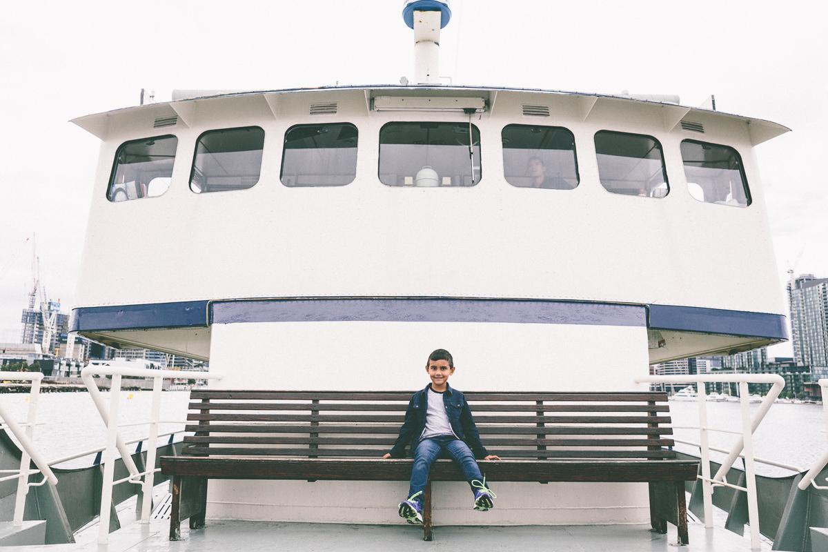 kid on docklands boat
