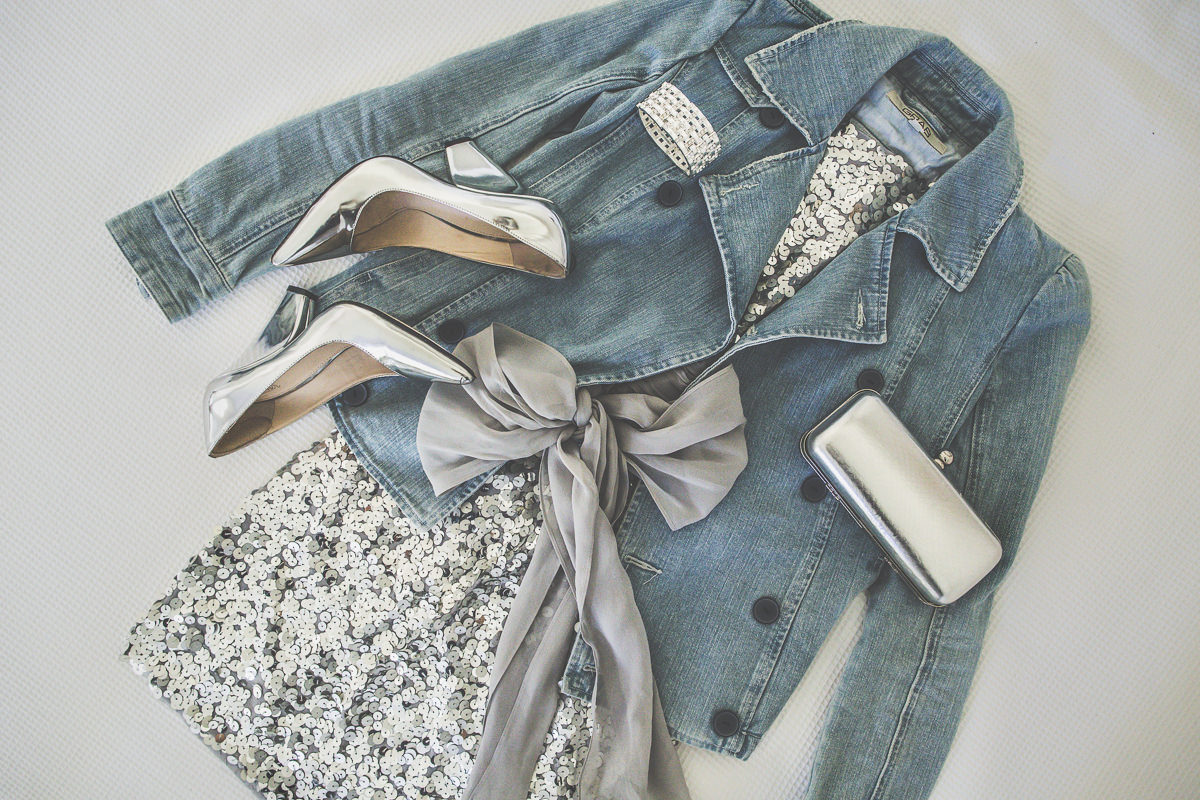 Denim and sequins. A great outfit for a night out in town.