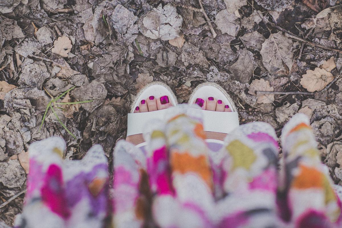 feet floral skirt
