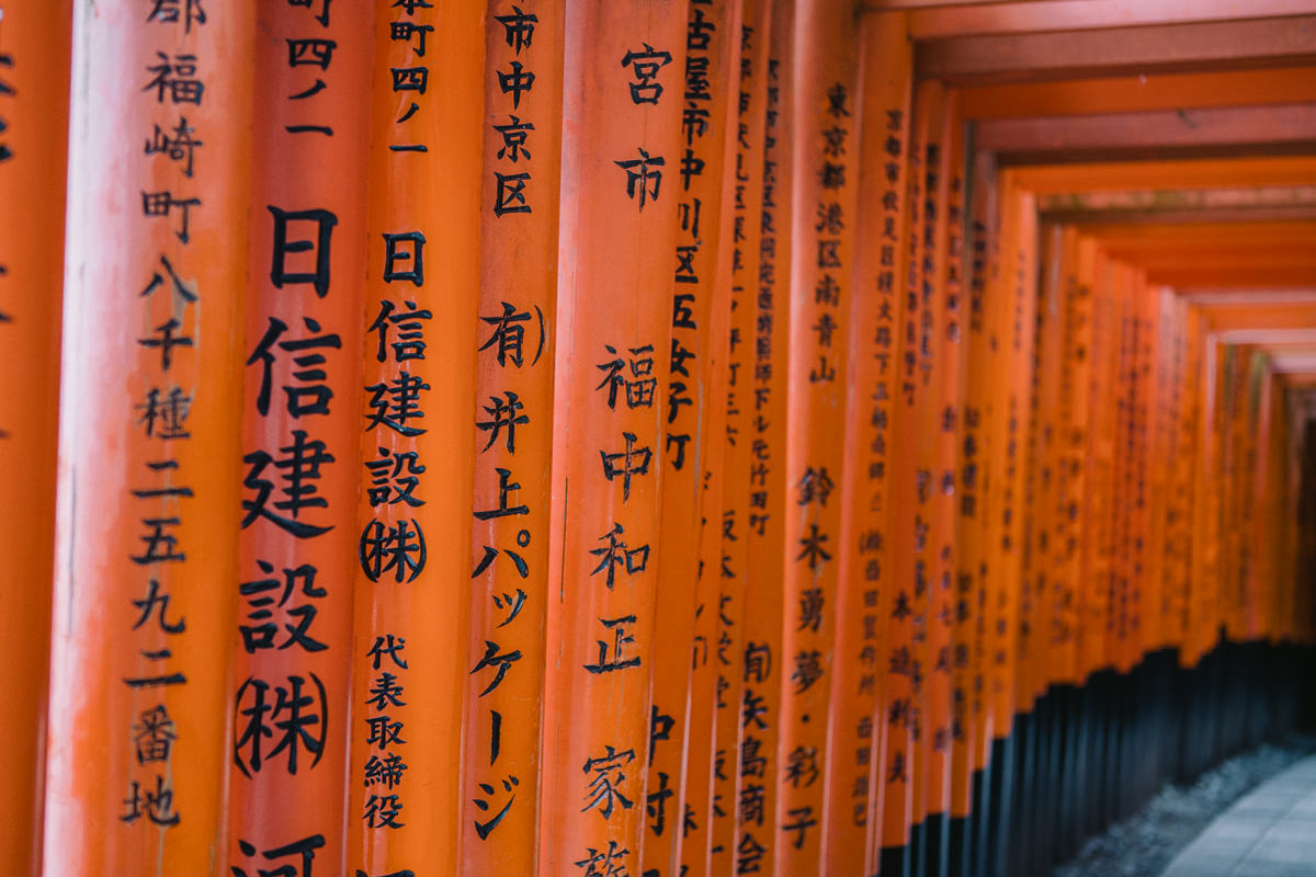 japanese signs on red gates