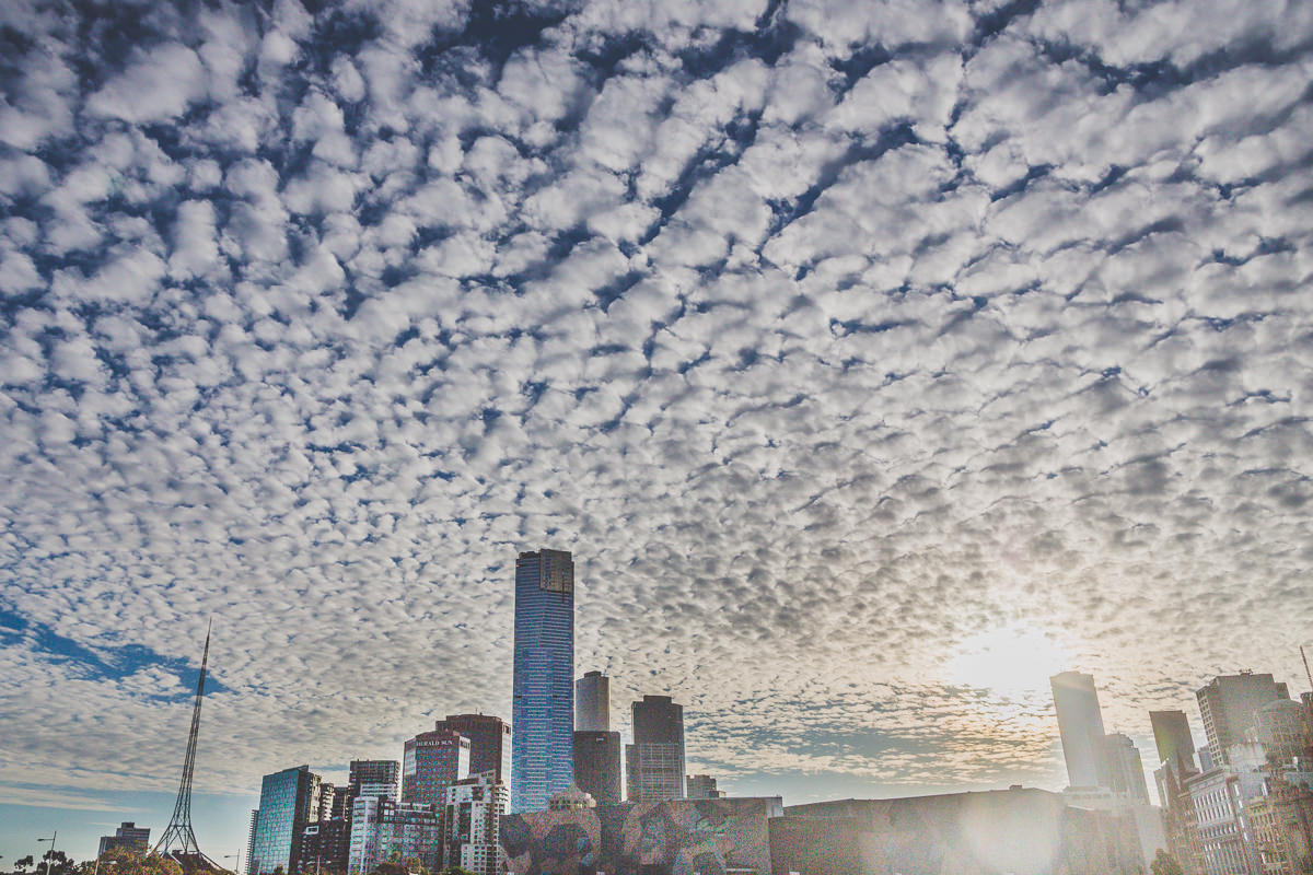 amazing Melbourne skyline at sunset with clouds - best pictures of melbourne