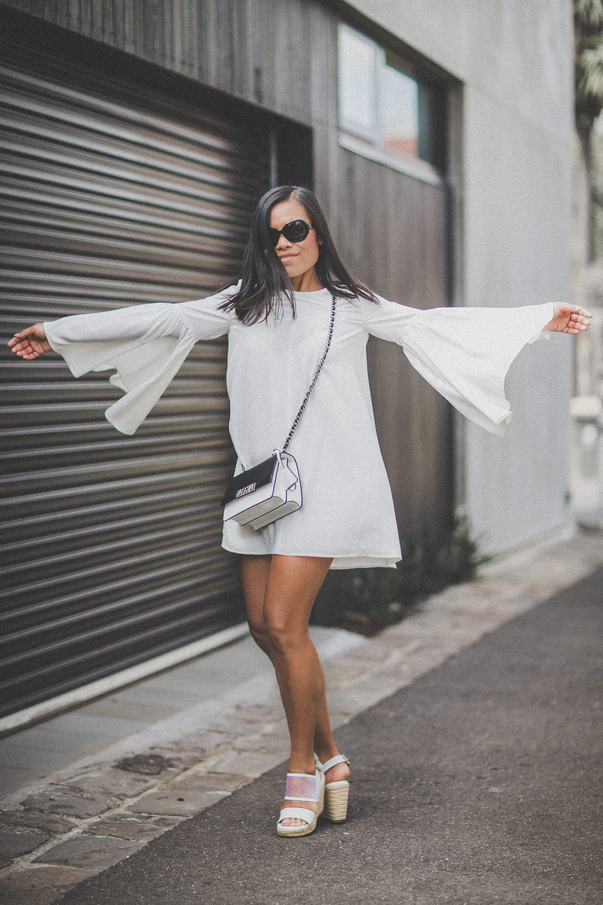 creative commercial fashion photography melbourne - sleeve dress in white - farfetch