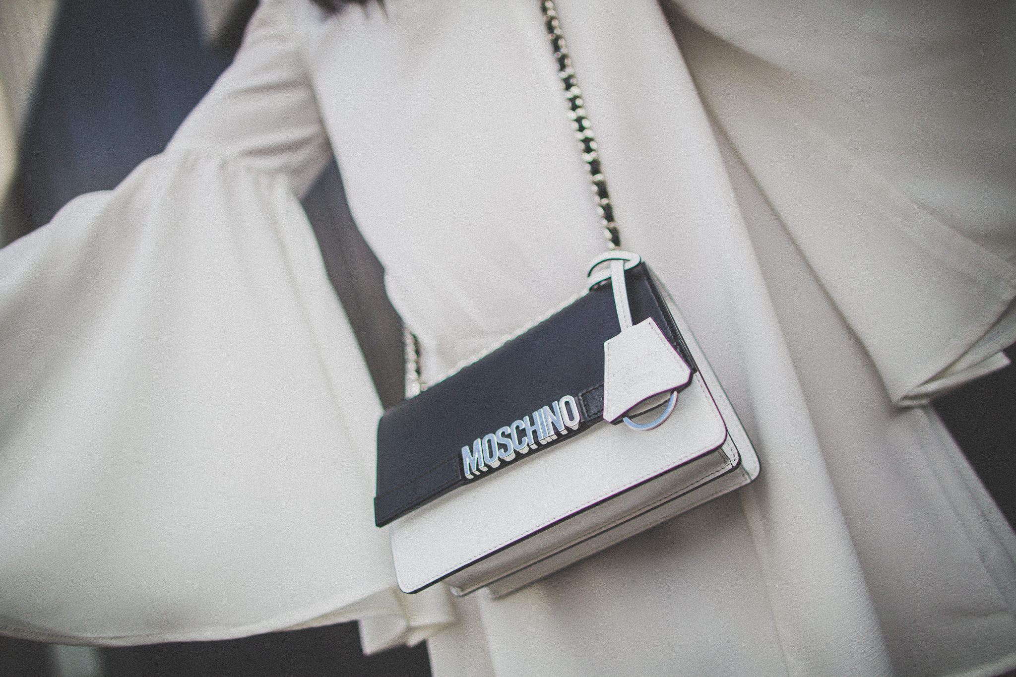 black and white mochino bag