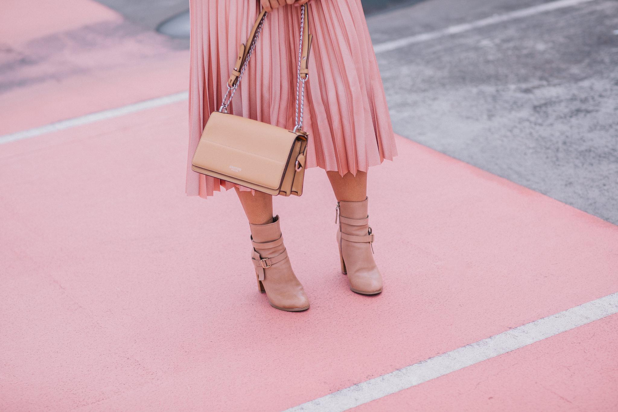 pink pleaded skirt