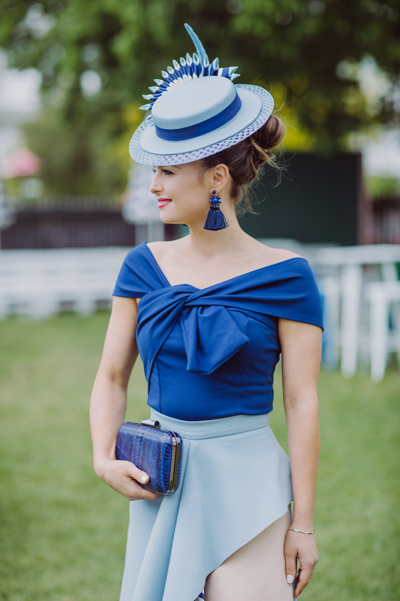 Blue Fashions on the field dress - boater hat - roksander dress