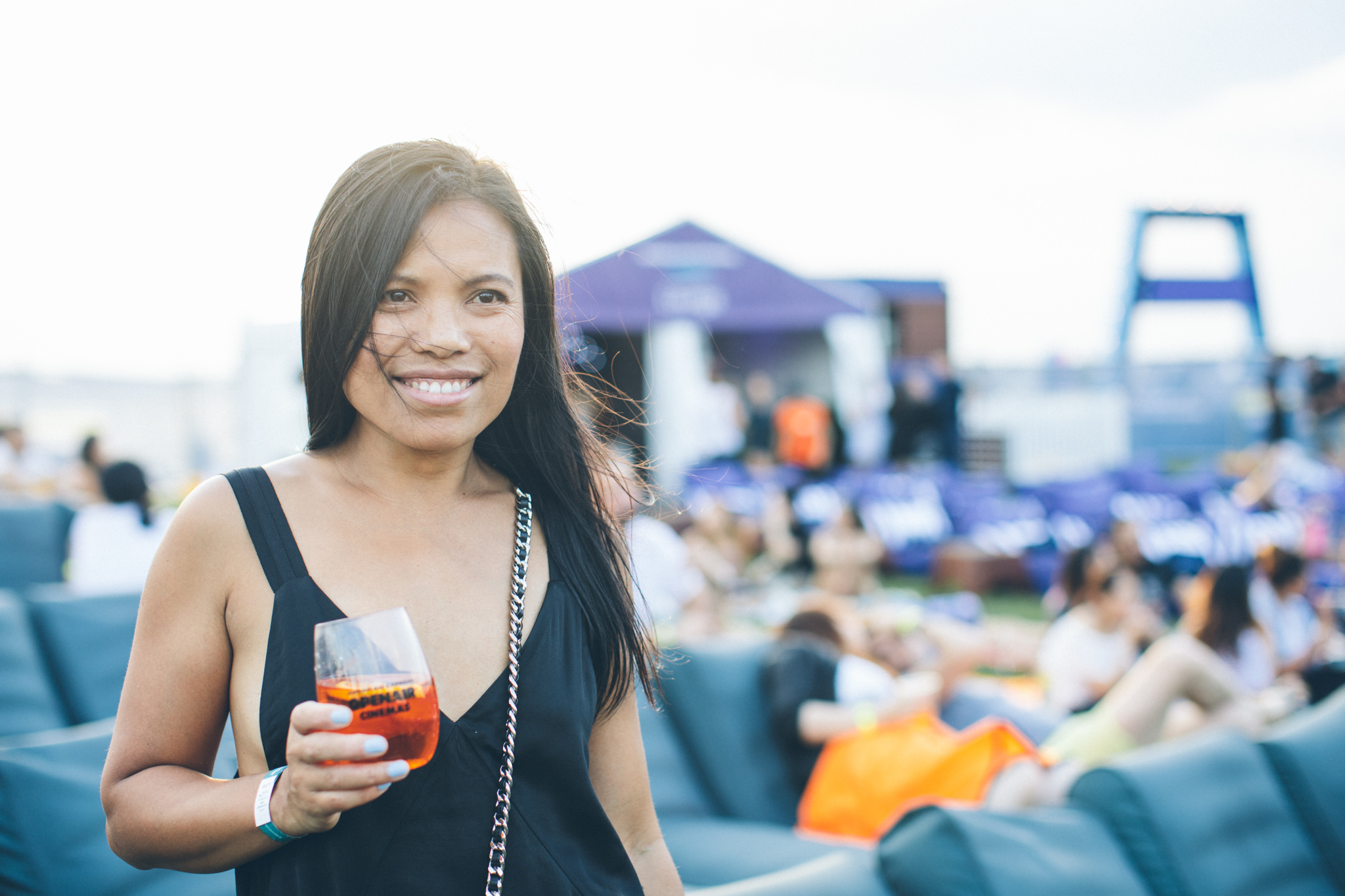 aperol spritz at outdoor openair cinema under the stars