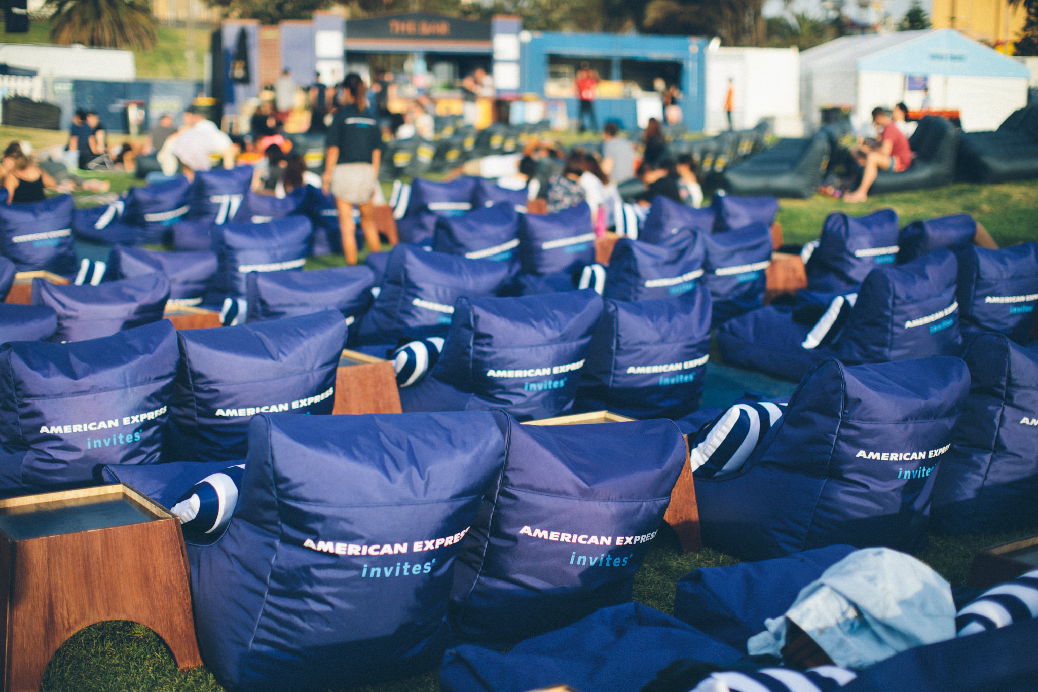 bean bags at open air cinema in st kilda