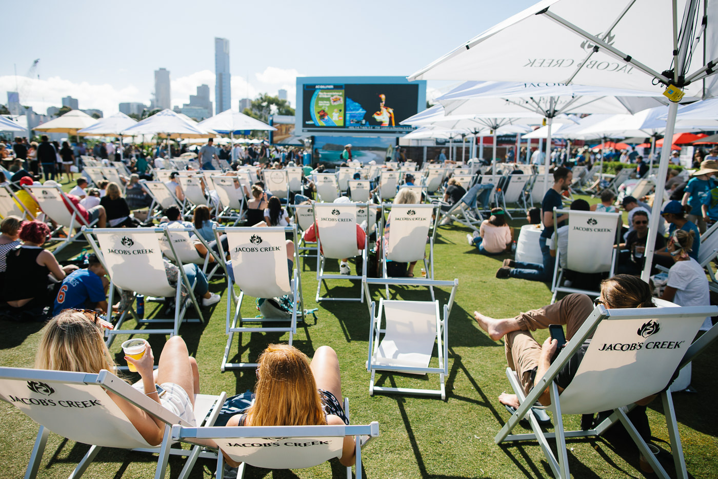 australian open public area - beach chairs in the melbourne beach club at the australian open