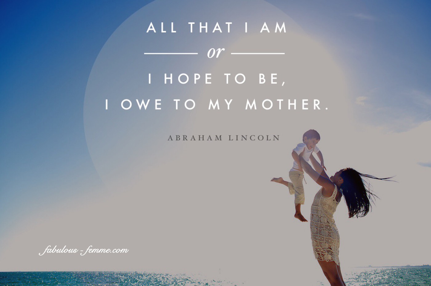 mothersday quote - all I am I owe to my mother
