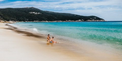 Swimming at Little Waterloo Bay in Wilsons Prom