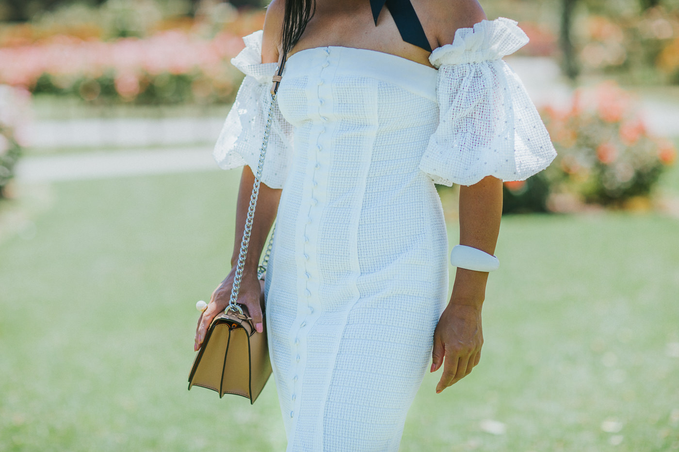 white puff sleeve dress