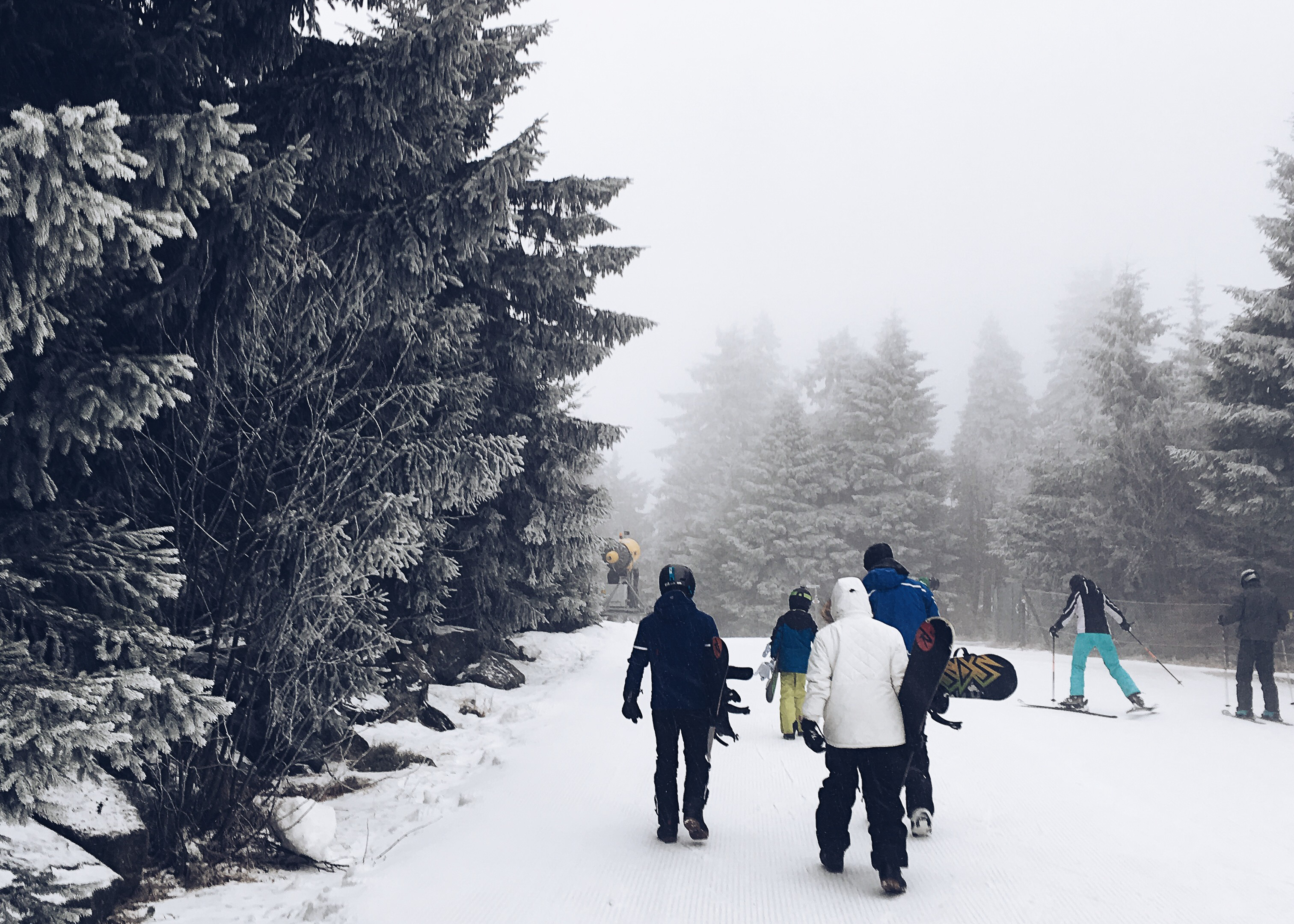 skiiers walking through fog
