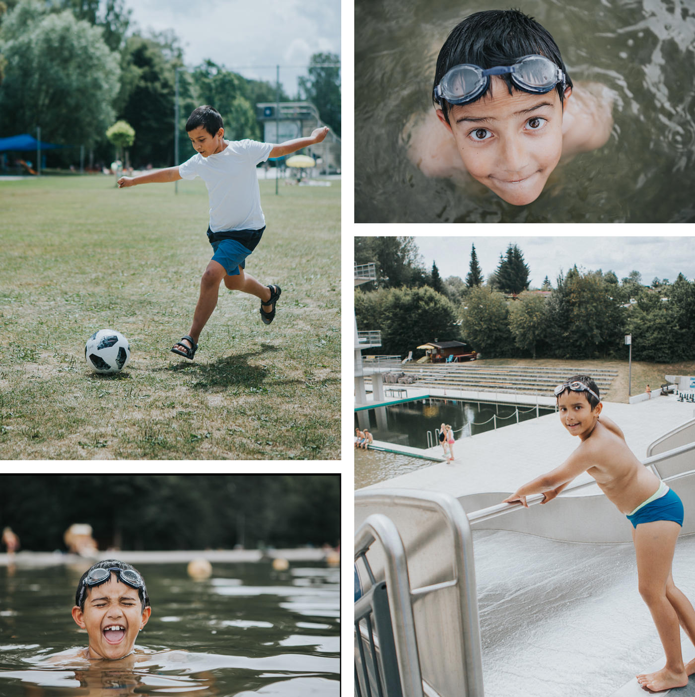 kids having fun at Marktrewitz Schwimmbad - Outdoor pool