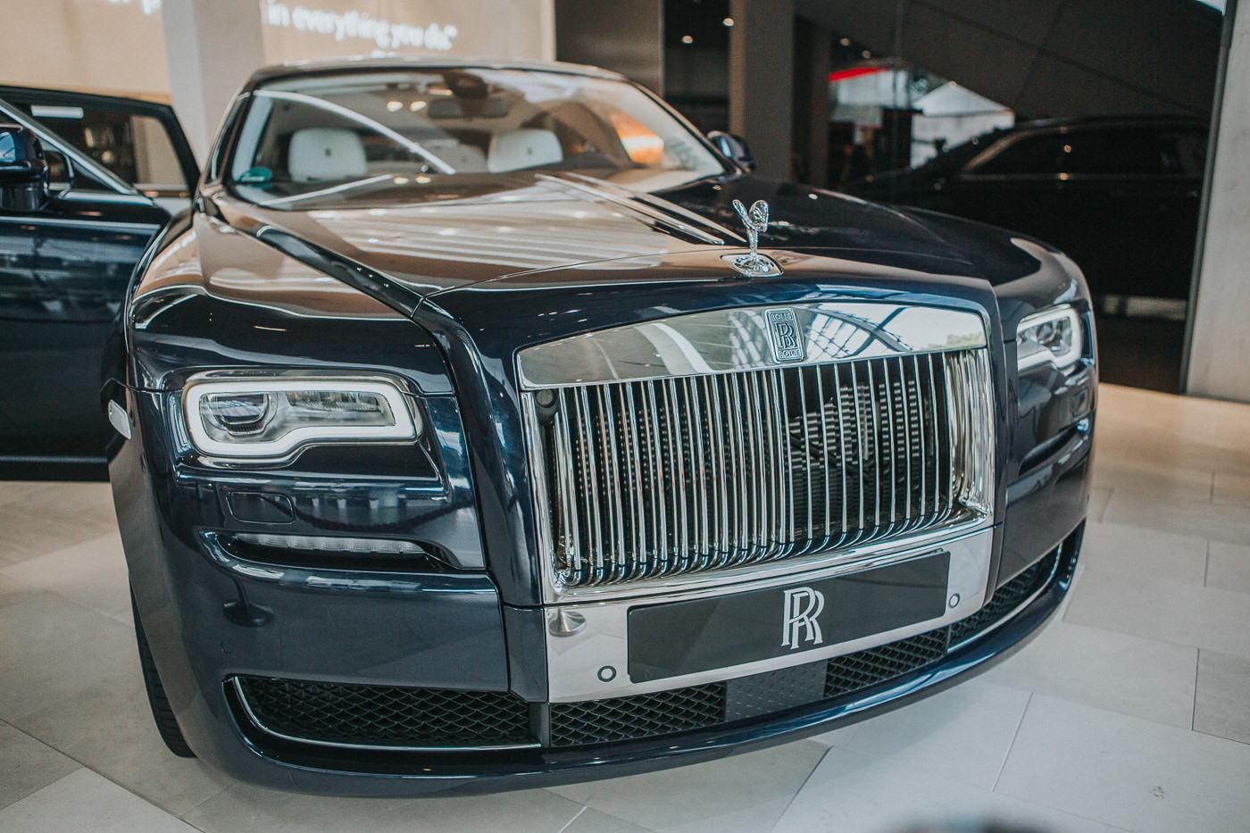 front of the rolls royce phantom