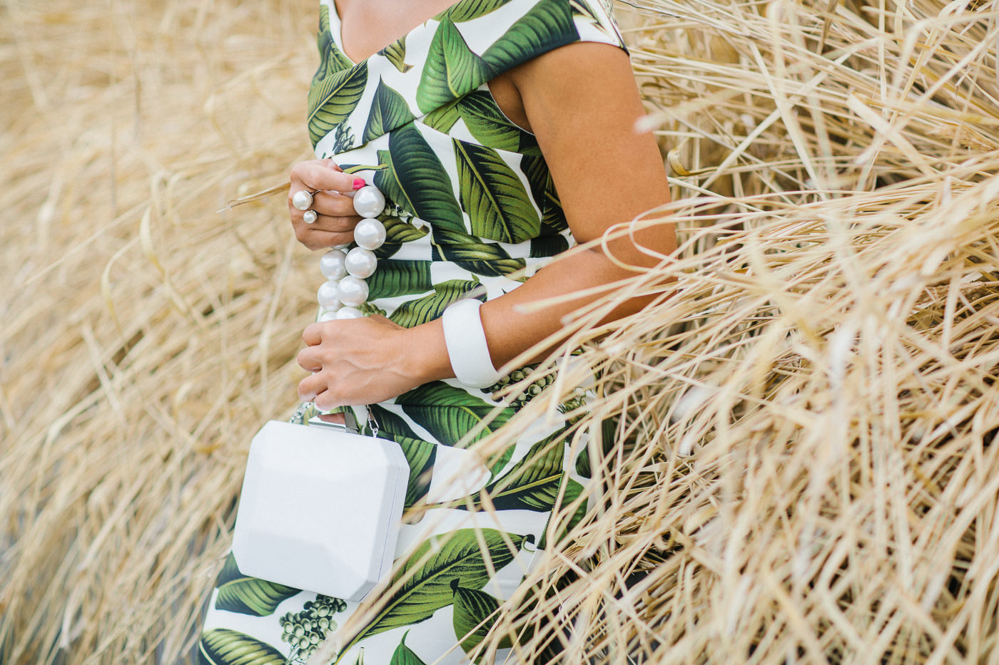 white handbag with green dress - Melbourne Fashion Blog