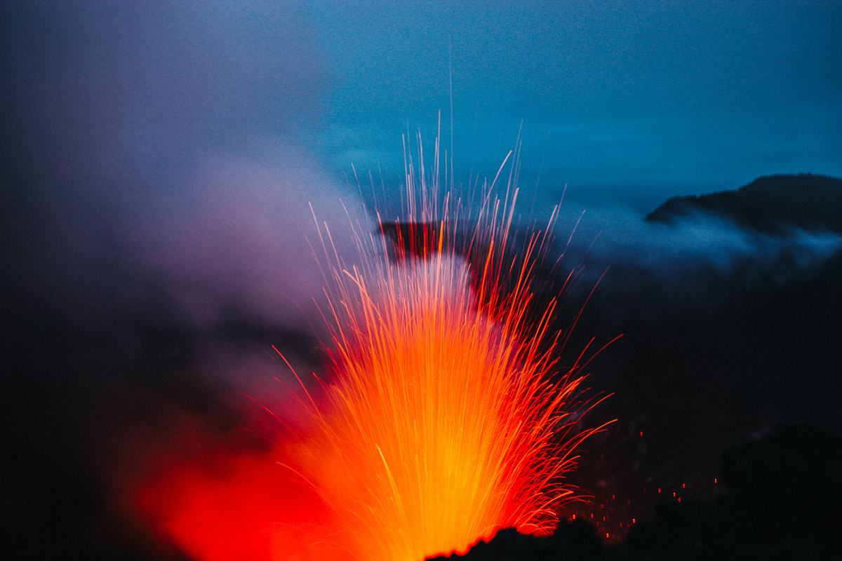 lava eruption at mt yasur in tanna island , vanuatu