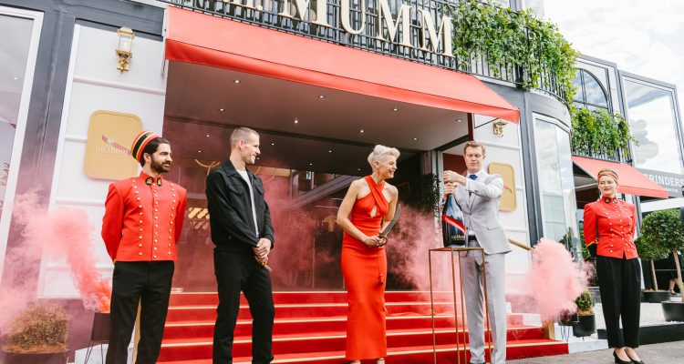 kate peck and dion lee opening the mumm champgane marquee at the birdcage 2019 - Melbourne Spring Racing Carnival