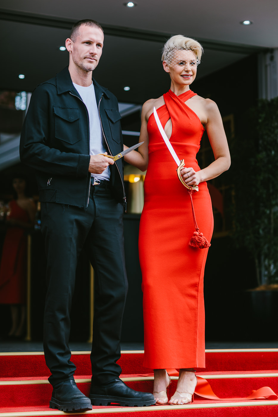 Dion Lee and Kate Peck at the Melbourne Spring Racing Carnival - Mumm Marquee