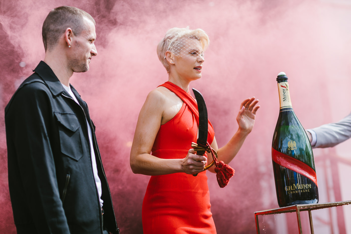 before the champagne bottle opening - dion lee and kate peck open the Maison Mumm - a french hotel in the Birdcage
