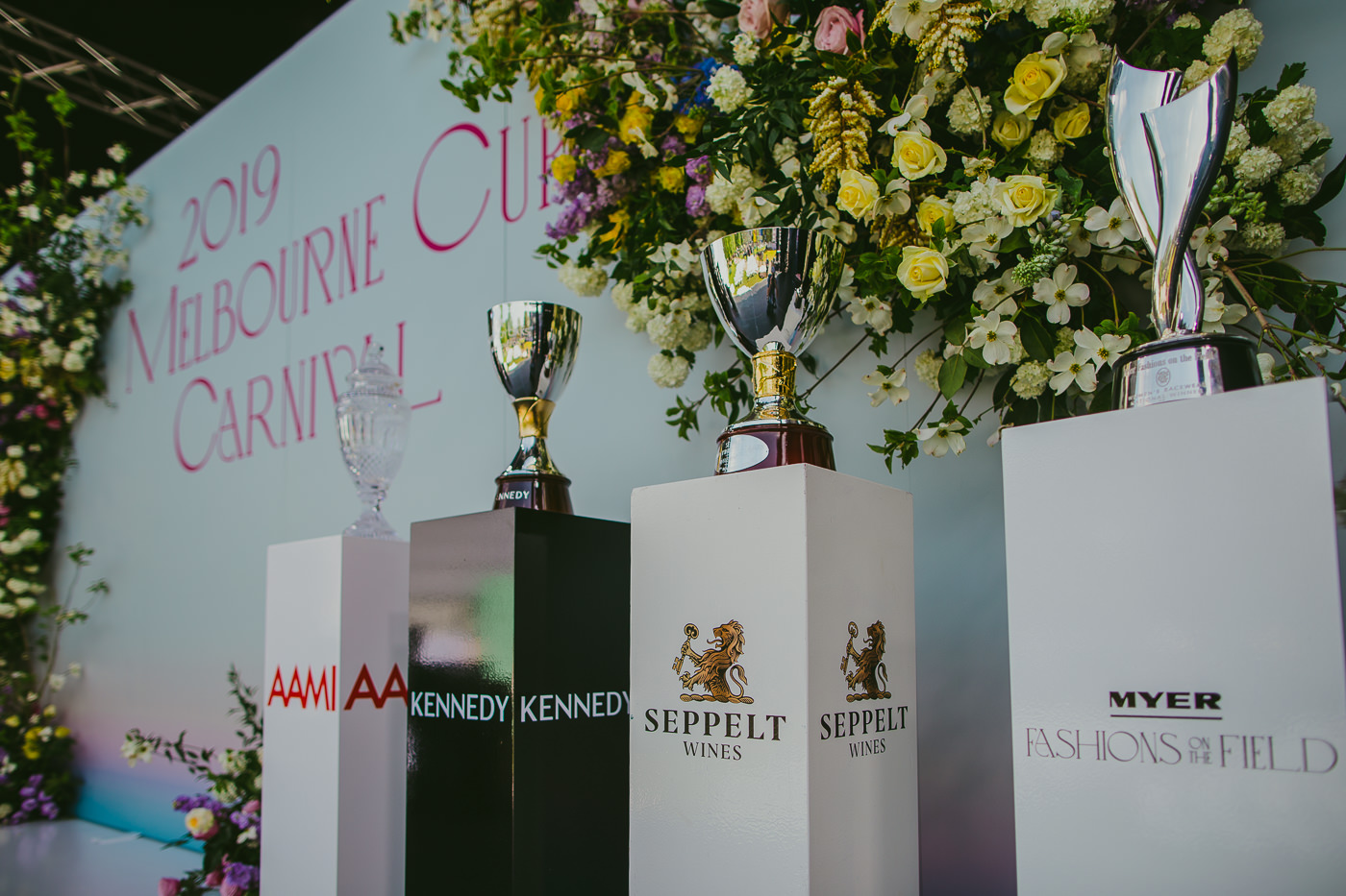trophies of the Melbourne Cup Spring Carnival