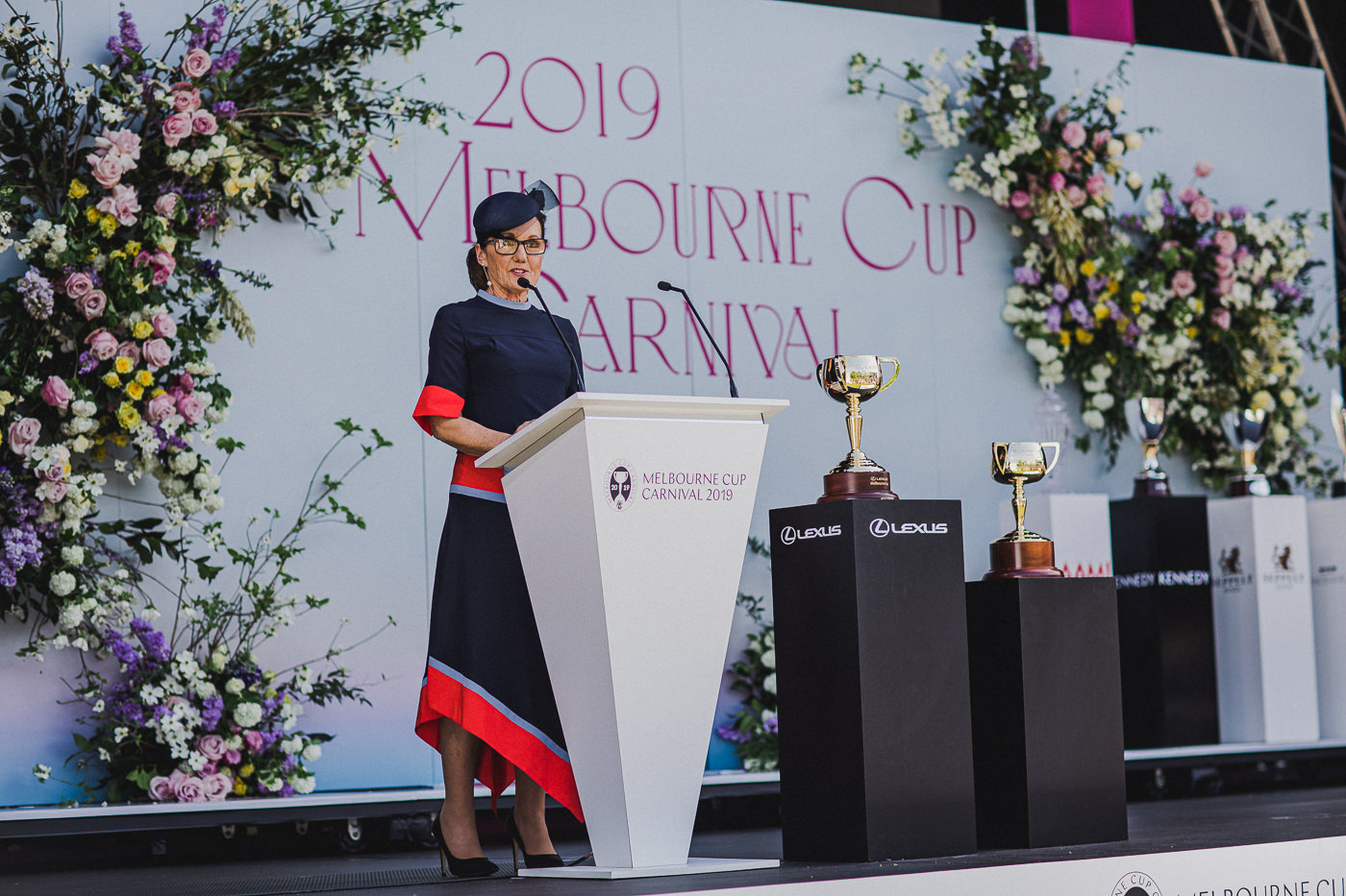 VRC Chairman Amanda Elliott, as the VRC celebrates the 100th anniversary of the three-handled Melbourne Cup trophy. 1919 and 2019