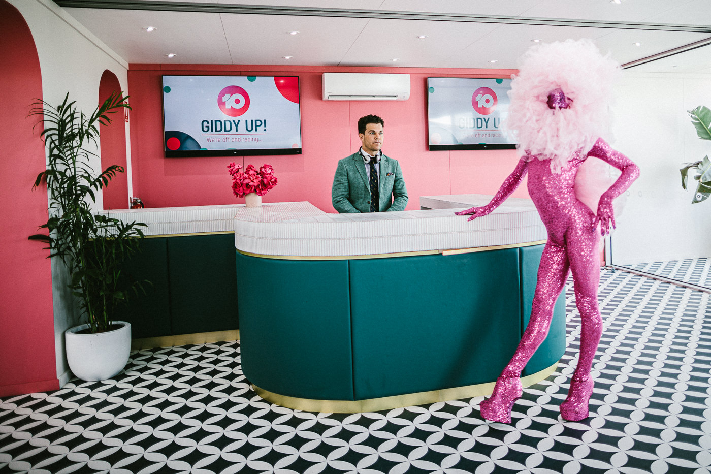 the pink dancer and dj ... don;t ask me wtf