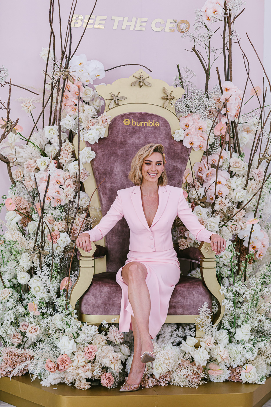 Bumble Marketing Director APAC Michelle Battersby on flower throne