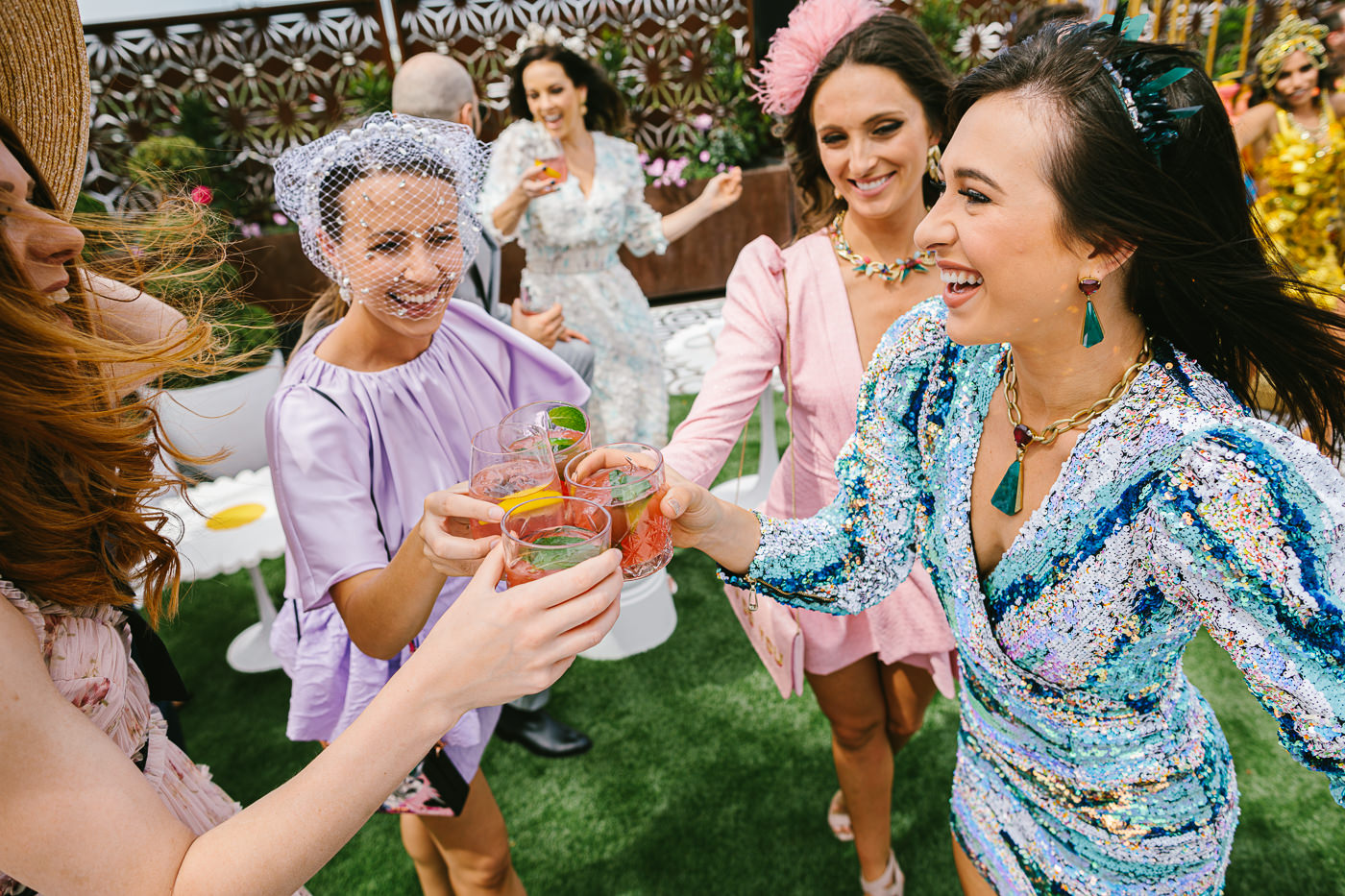 racegoers having fun and dancing at the Melbourne Cup
