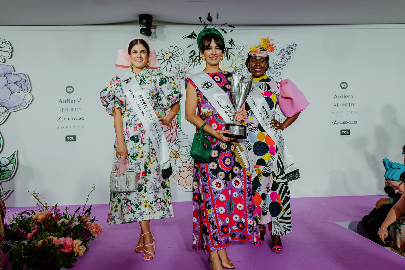 It's all about the Sash - Winners of the Fashions 2019 - Myer FTOF Fashions on the Field Winners 2019 at Flemington (Melbourne Cup Carnival)