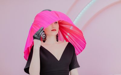 Racing Fashion Photos on Oaks Day - Bold and stylish Millinery at the Spring Racing Carnival - Best Millinery to stand out - velvet&tonic Millinery at the races in Melbourne