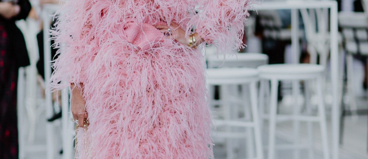 Pink fluffy - Ostrich feather dress in pink with sunnies - best outfit of the Melbourne Spring Racing Carnival