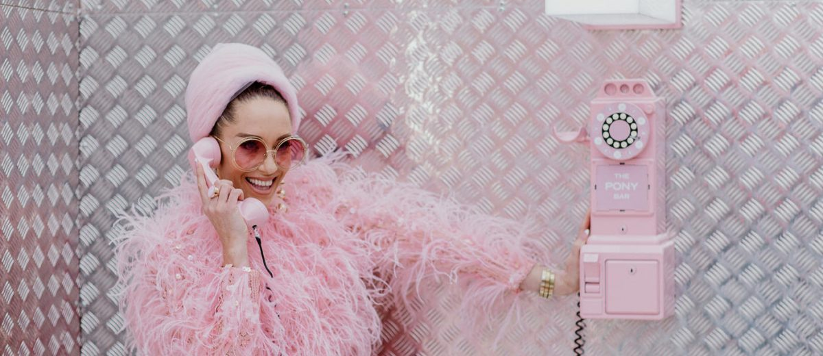 stunning racing outfit - 2020 trendfs - pink fur jacket at photo oppotunity in the pony bar at flemington