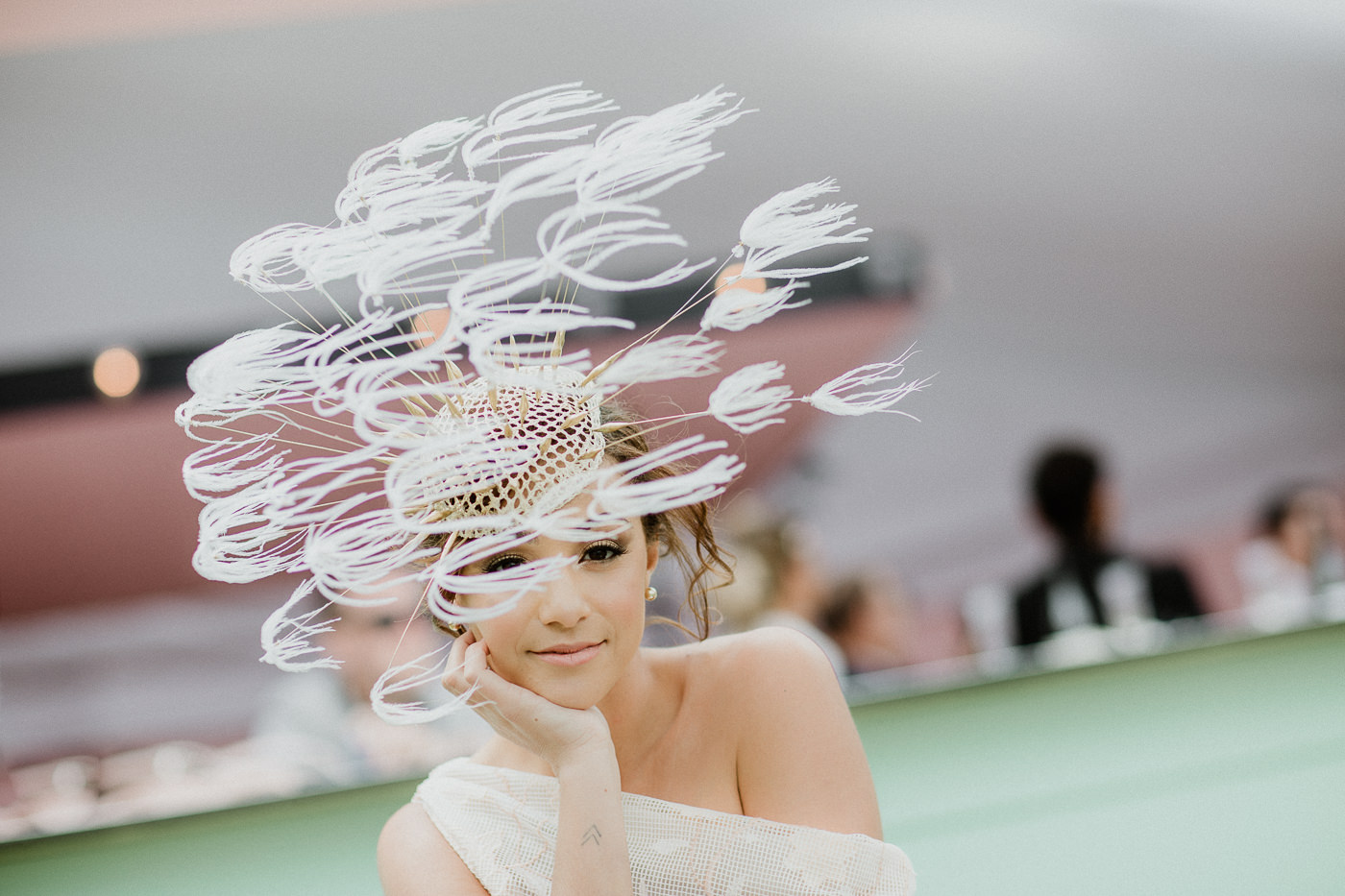 The dandelion headpiece - white feathers moving in wind ! The Pusteblume hat!