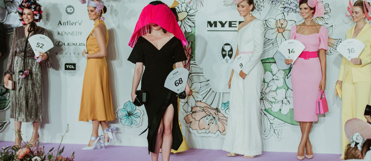 velevt and tonic on stage during Myer Millinery Award - most striking Millinery at the Melbourne Spring Racing Carnival - Award winning