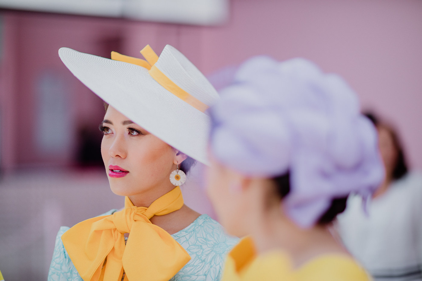 stylish and elegant millinery for the races - yellow