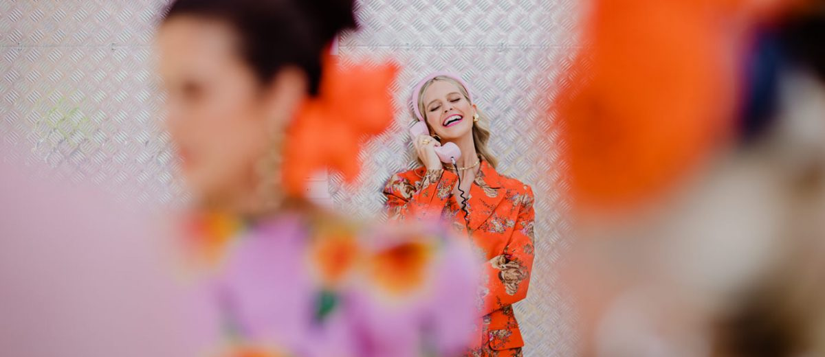 Candid photos of the Melbourne Cup - Girl on phone in fashion outfit