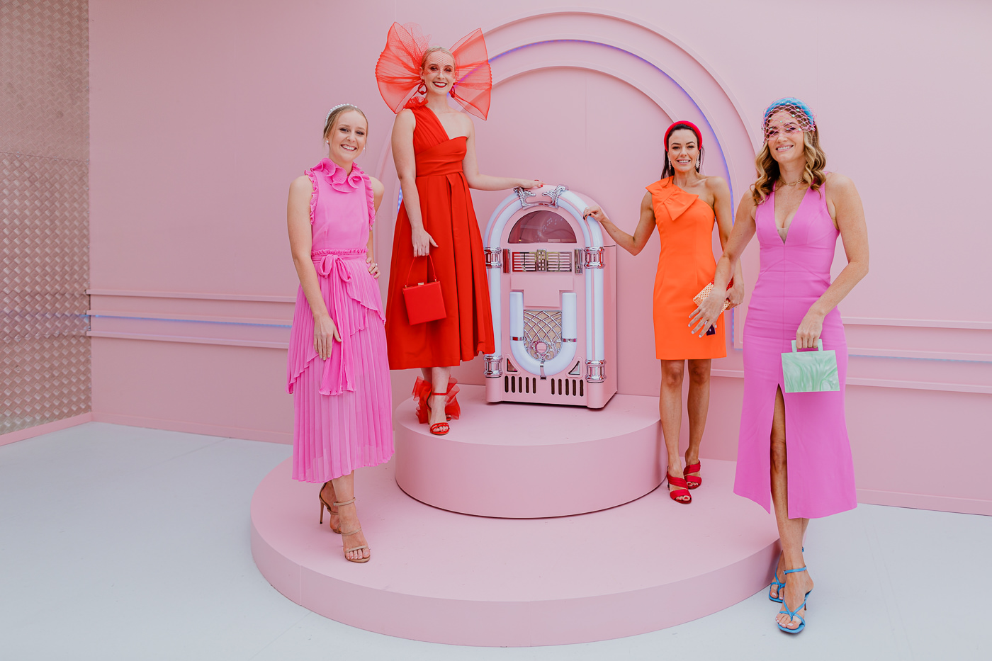 bright and colourful girls at the Melbourne Spring Racing Carnival - best photos of the races