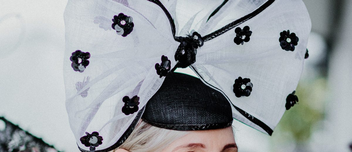 large bow in black and white - millinery