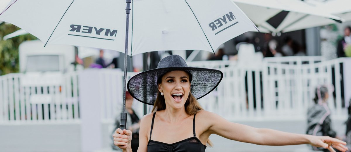 umbrealla - rain on derby day - Myer logo