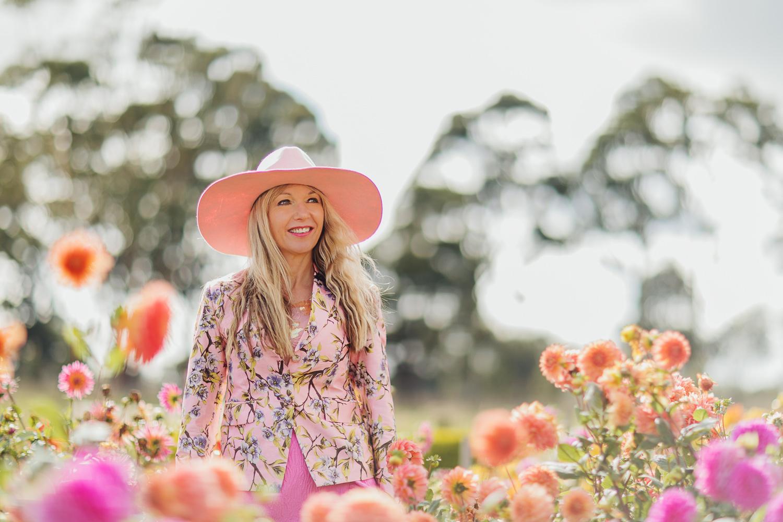 in flower field